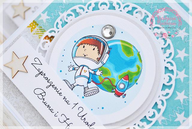 Zaproszenia urodzinowe dla bliźniaków, kosmos, gwiazdy, handmade, scrapbooking