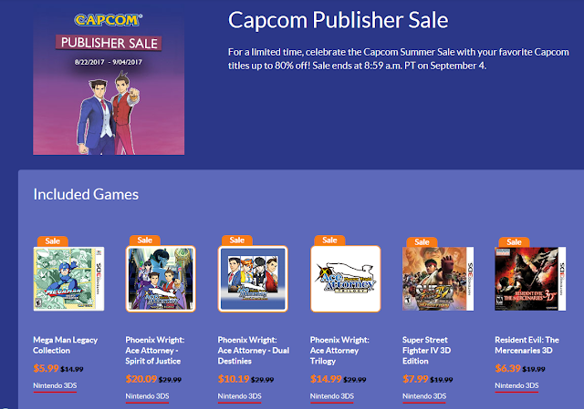 Capcom Summer Sale 2017 Publisher Phoenix Wright Ace Attorney discounts Nintendo eShop 3DS