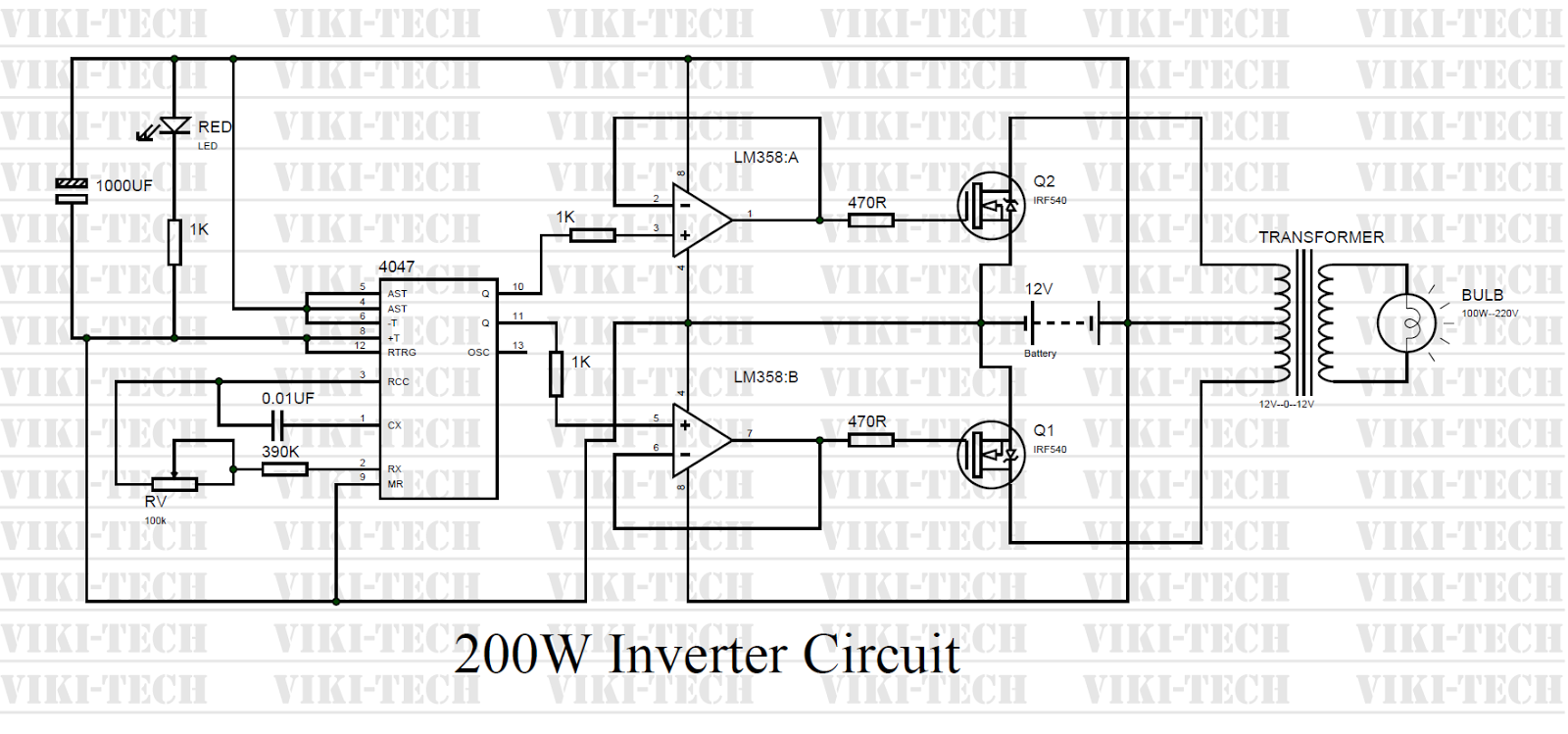 200 Watt Inverter circuit diagram:-