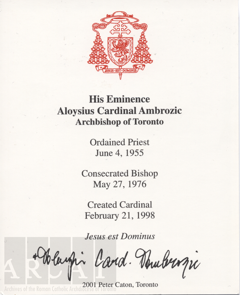 The Archivist\'s Pencil: Happy Birthday, Cardinal Ambrozic!