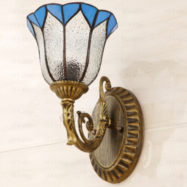 Bronzed Hardware Tiffany Style Wall Sconce