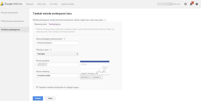 Cara Payment Menerima Pembayaran Google adsense melalui Payonner