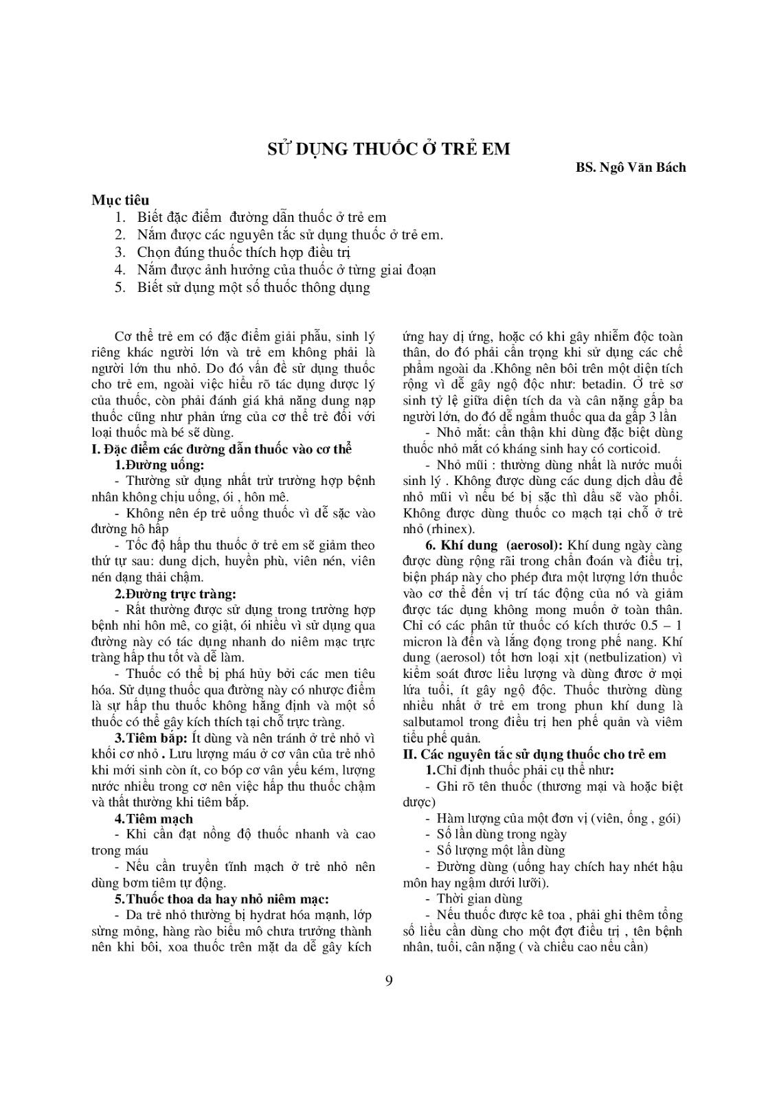 Trang 9 sach Bài giảng Nhi khoa - ĐH Y khoa Phạm Ngọc Thạch
