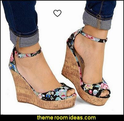 Women's Kenzie Floral Print Canvas Wedge Sandals