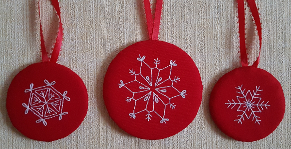 embroidered snowflake ornaments | DevotedQuilter.blogspot.com