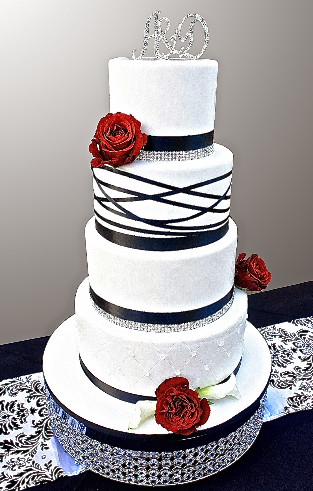 Luxury Red Black And White Wedding Cake Pattern - The Wedding Ideas ...
