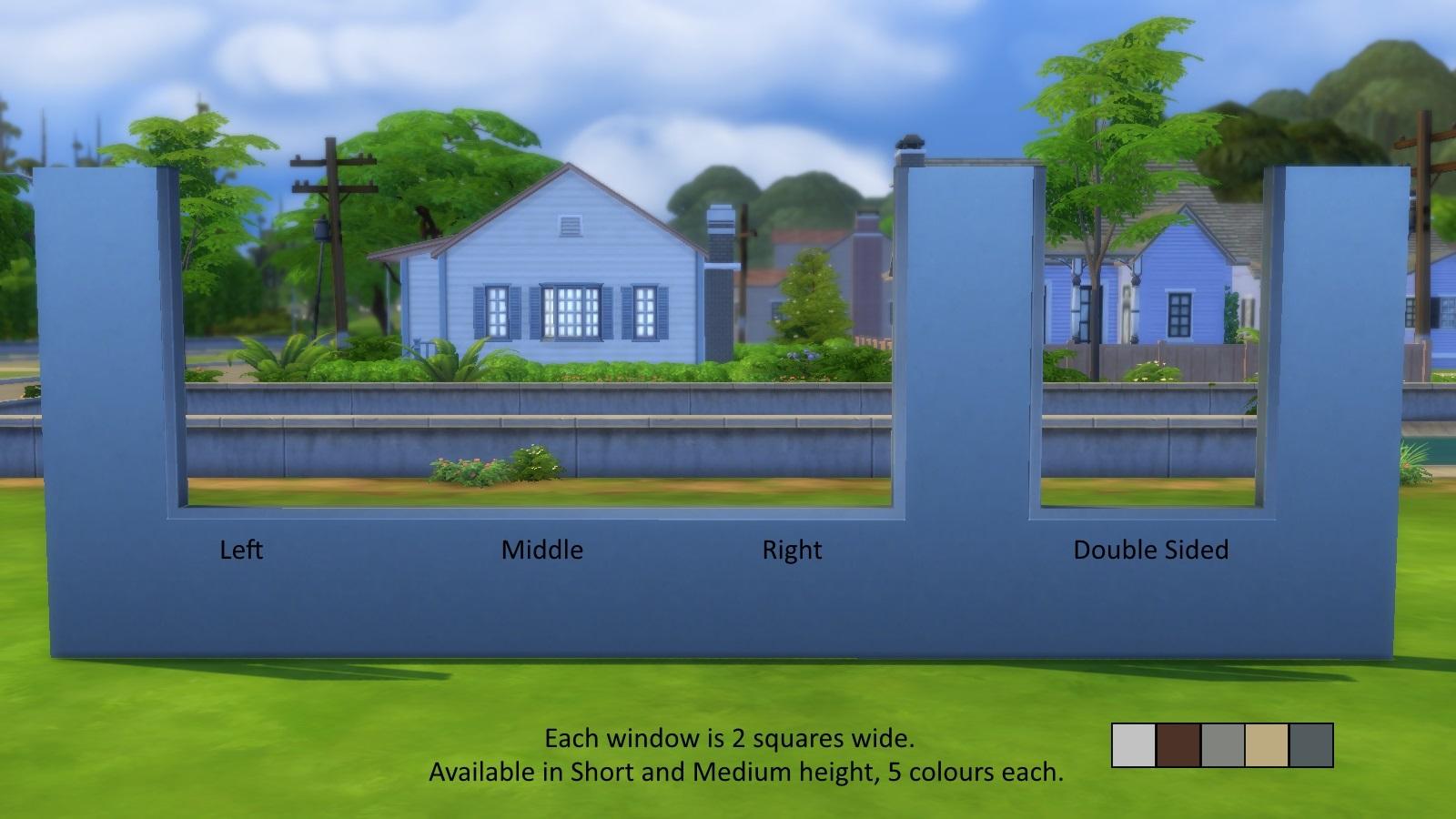 My Sims 4 Blog Faux Half Wall Windows By Chaggith