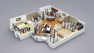Contoh Gambar 3D Desain Rumah Minimalis Modern Terbaru 9