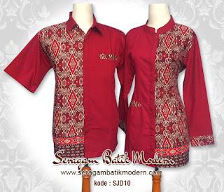 Model Baju Batik Kantor Kombinasi Polos Terkini
