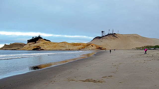 The far end of the beach at Cape Kiwanda...