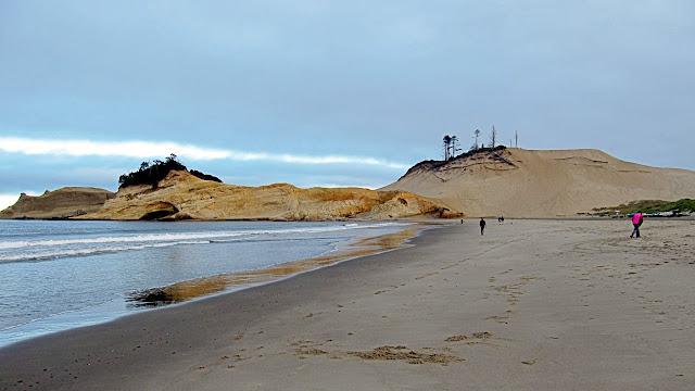 The far end of the beach at Cape Kiwanda...