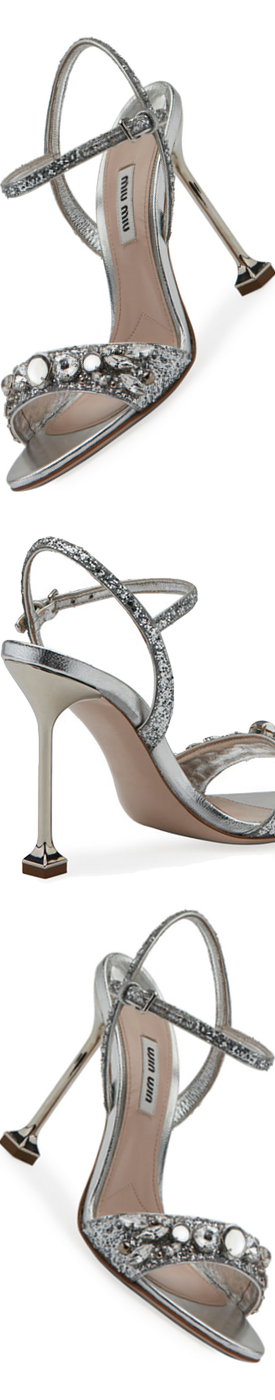Miu Miu Jeweled Glitter 105mm Sandal