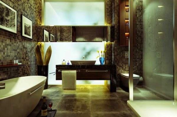 Desain kamar mandi dengan keramik mozaik dan batu alam