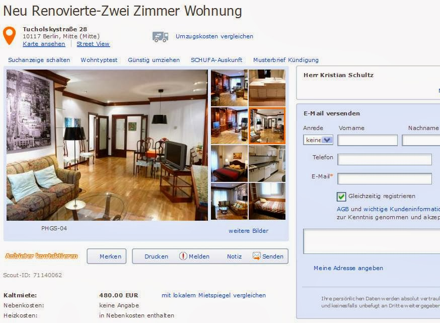 1 Room Apartment For Rent In Berlin
