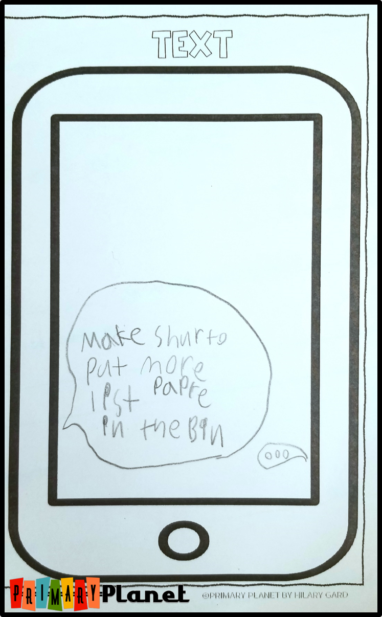 Image of note from student to help refill list paper.