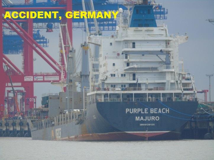 ACCIDENT, Germany: Water ingress in Purple Beach engine room at Lüneburg Quay in Wilhelmshaven