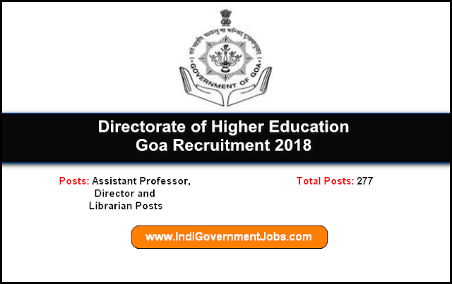 DHE Goa Recruitment 2018-Assistant Professor, Director and Librarian Posts