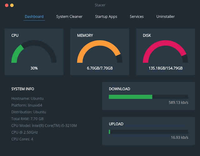 Stacer Dashboard - Ubuntu