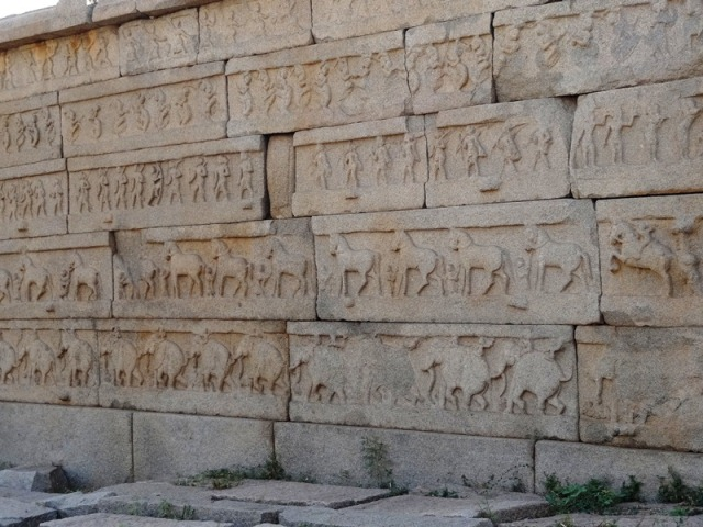 Exterior wall of Hazara Rama temple showing the Mahanavami procession - Hampi