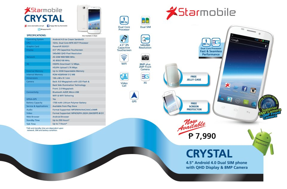 Starmobile Crystal Android 4.0 ICS Specs and Price is Only P7990
