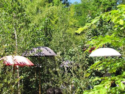 Umbrellas in garden bisplay at the International garden festival at Chaumont-sur-Loire
