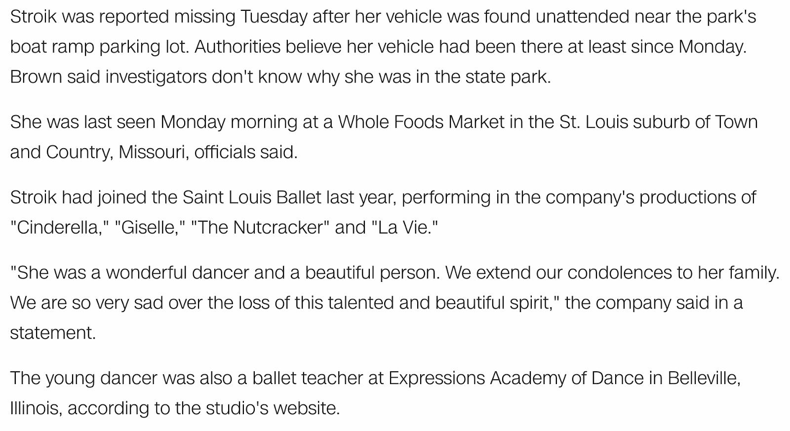 Murder by Numbers | St  Louis ballet dancer found dead in