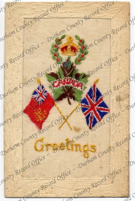 Embroidered postcard showing the British and Canadian flags (D/DLI 7/913/178)