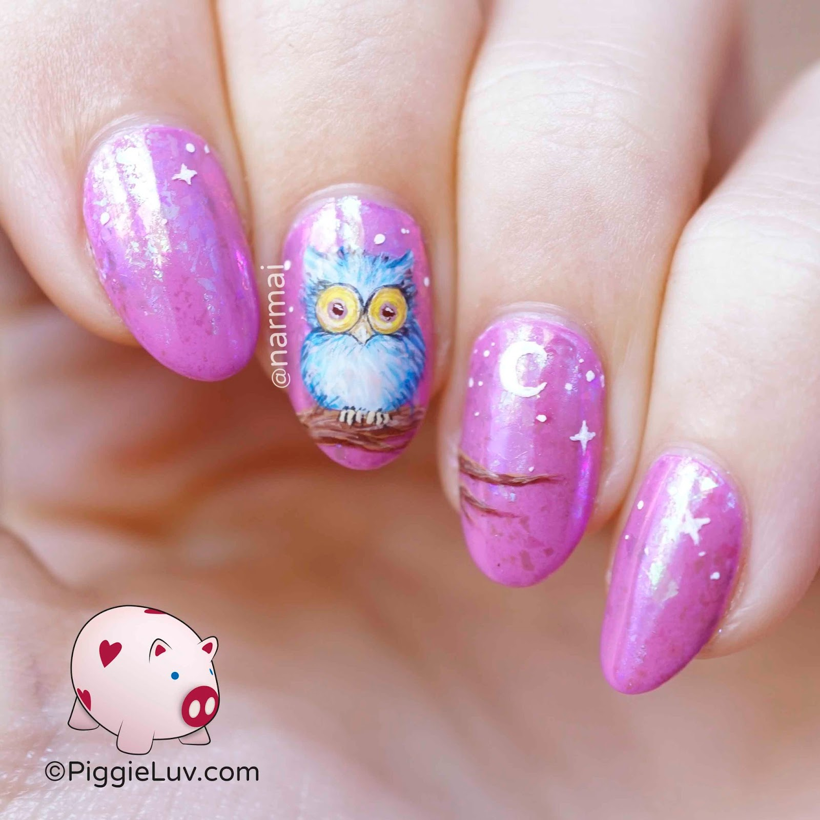 PiggieLuv: Fluffy owl nail art