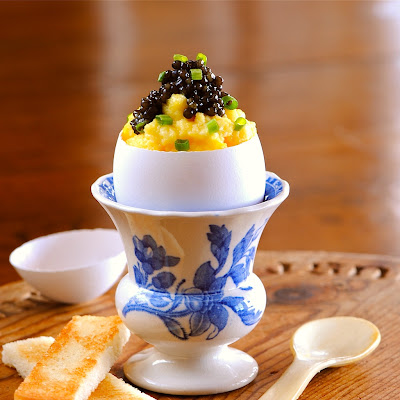 CAVIAR and EGGS IN A PERFECT EGG SHELL CUP