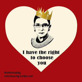 In a heart shape, RBG wearing a crown, captioned 'I  have the right to choose you'