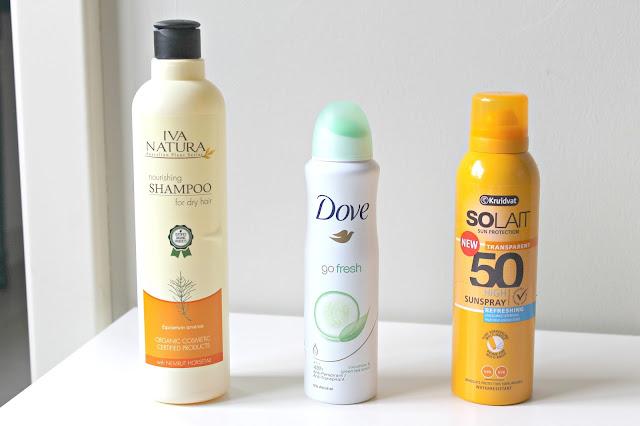 Iva natura shampoo Dove deodorant go fresh Kruidvat solait sunspray spf 50