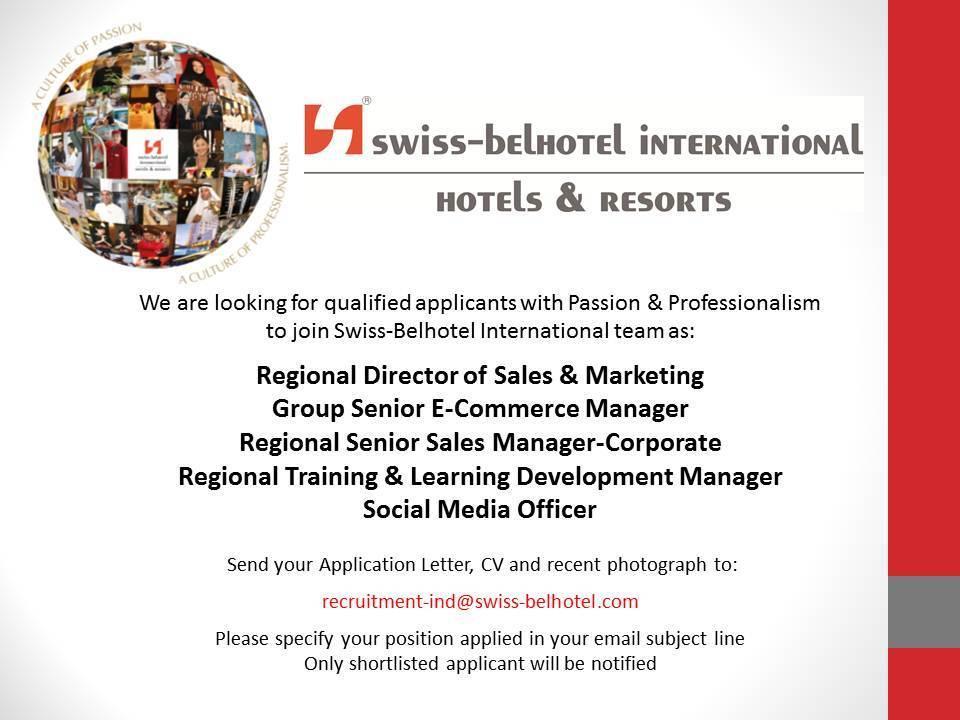 Swiss-Belhotel International Sept Jobs News - Hotelier Indonesia Jobs