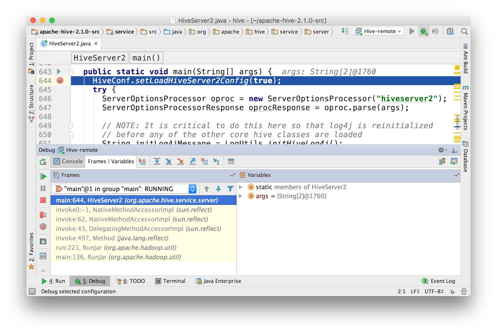 Remote debugging on Hive using IntelliJ | Dongwon's Tech Blog