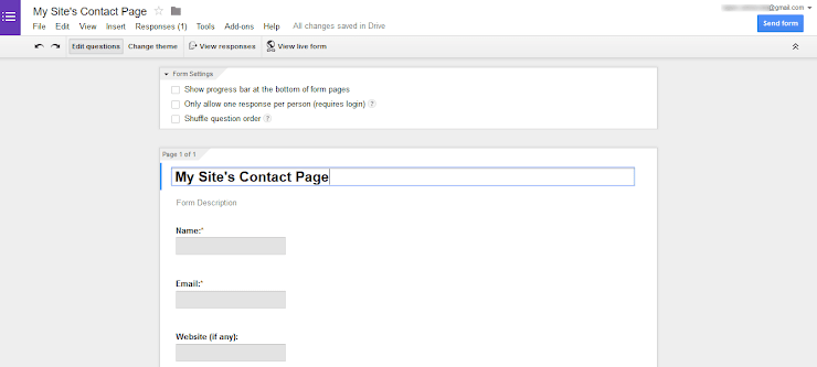Google Drive form making interface