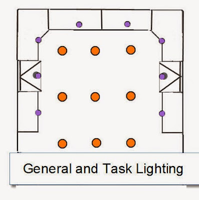 Task and general Recessed Lighting Layout