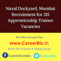 Naval Dockyard, Mumbai Recruitment for 315 Apprenticeship Trainee Vacancies