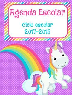 agenda escolar unicornios