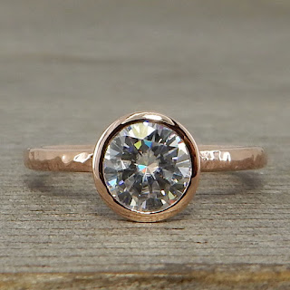 moissanite solitaire ring hammered rose gold