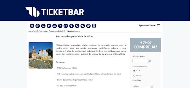 Ticketbar para ingressos para o tour de ônibus pela cidade de Milão