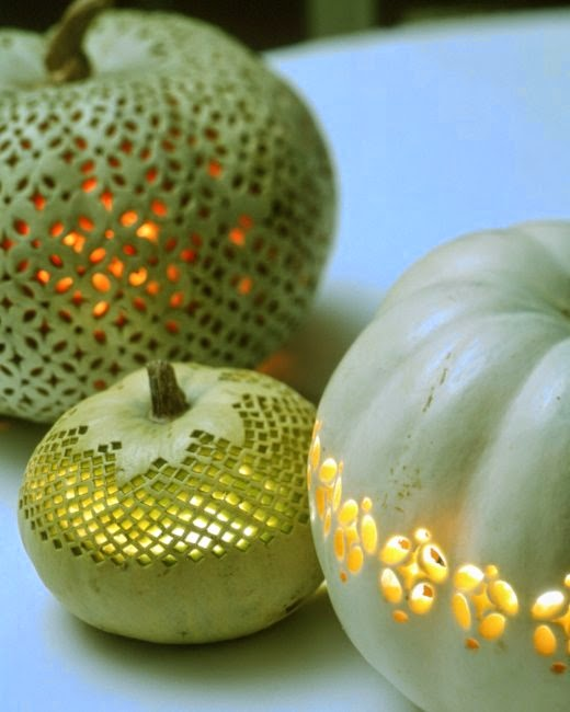 Martha Stewart Halloween mint pumpkins decorated
