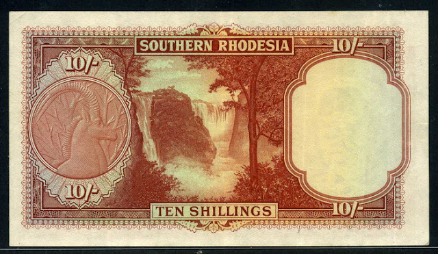 Rhodesia currency Shillings, Victoria Falls