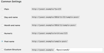 Menghilangkan Permalink Bulan dan Tahun pada URL Postingan Blogger - Permalink common settings yoast