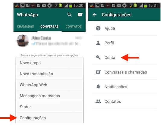 Acessando as configurações para conta do WhatsApp para Android