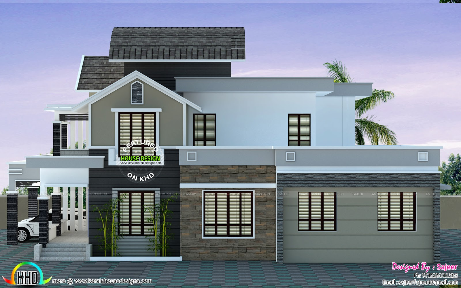 Front left and right view of modern home kerala home for Building houses with side views