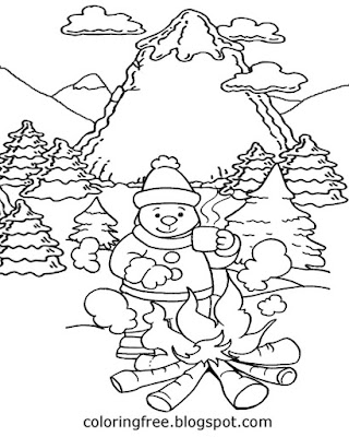 Downhill ski Holiday Mountain camping wintry weather snow coloring pages white winter scene drawing