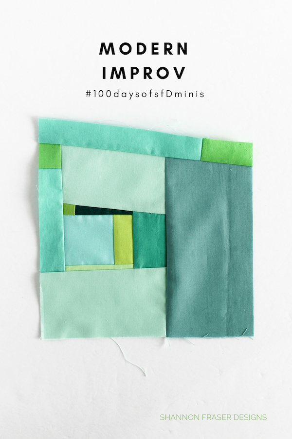 Modern Improv mini quilt block by Shannon Fraser Designs