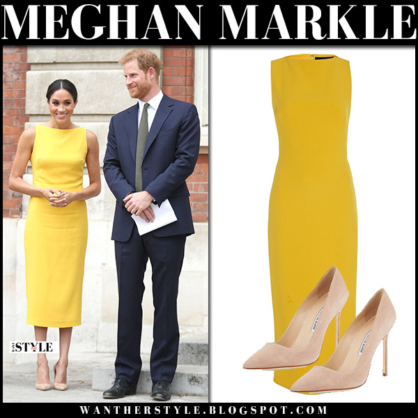 Meghan Markle in yellow midi dress brandon maxwell and suede pumps manolo blahnik royal family fashion july 5