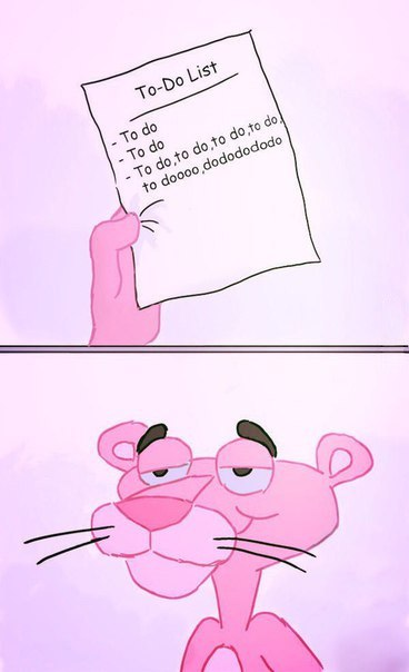 Funny Pink Panther To Do List Cartoon Picture