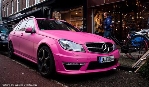 Cars Wallpaper Hd Lambo Ferrari Mercedes C63 Amg Estate In Pink
