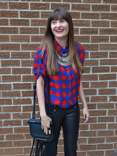 Plaid is huge for fall! Style it with leather pants for an edgy look! As worn by Jen of House Of Jeffers | www.houseofjeffers.com